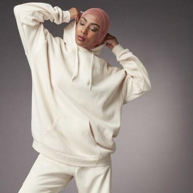 Camisola Oversize com Capuz Hyperglam Branco Mulher Sportswear