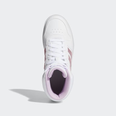 Kids Essentials White Hoops Mid 2.0 Shoes