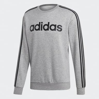 Heren Fitness En Training Grijs Essentials 3-Stripes Sweatshirt