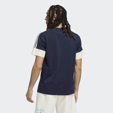 Heren Originals Blauw adidas SPRT 3-Stripes Split T-shirt