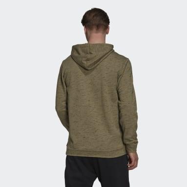 Men's Essentials Green Essentials Mélange Embroidered Small Logo Hoodie