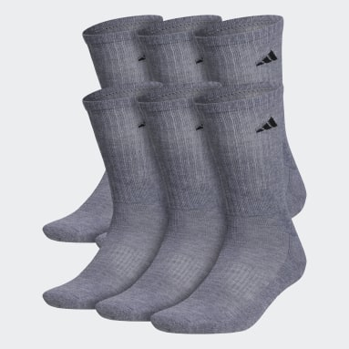 Men's Basketball Grey Athletic Cushioned Crew Socks 6 Pairs