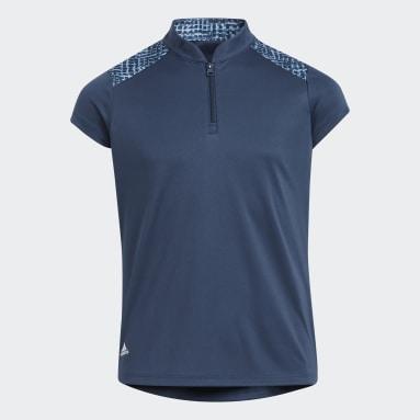 Girls Golf Blue Mock Primegreen Polo Shirt