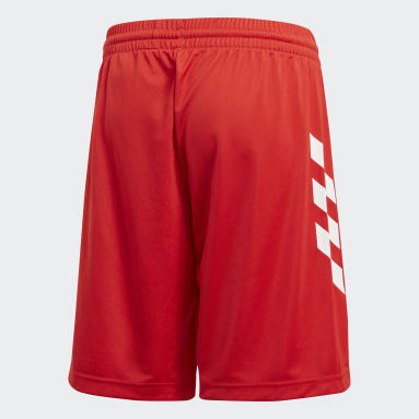 Boys Training Red Salah Football-Inspired Shorts