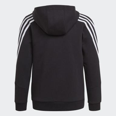 Boys Training Black Future Icons 3-Stripes Full-Zip Hoodie