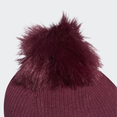 Frauen Originals Faux Fur Bommelmütze Weinrot