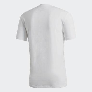 Playera Brush-Stroke Box Graphic Blanco Hombre Diseño Deportivo