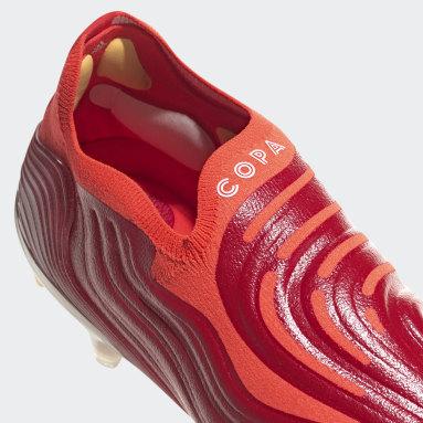 Bota de fútbol Copa Sense+ césped natural húmedo Rojo Fútbol