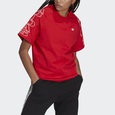 T-shirt Loose adidas Letter Rosso Donna Originals