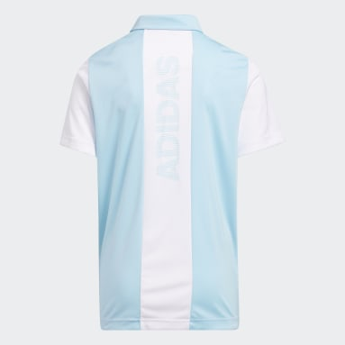 Boys Golf White 3-Stripes Colorblock Polo Shirt