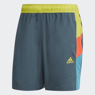 Men Water Sports Grey Short Length Colorblock Swim Shorts