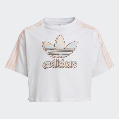 Camiseta Corta Logo Marmóreo Estampado Blanco Niña Originals
