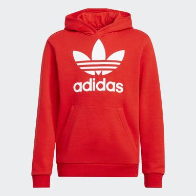 Sweat-shirt à capuche Trefoil Rouge Enfants Originals