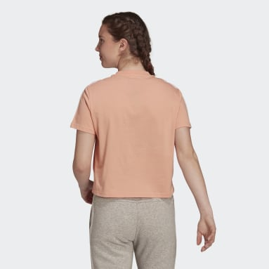 Women Sport Inspired Pink Essentials Loose 3-Stripes Cropped Tee