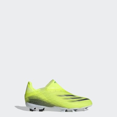 Kids Football Yellow X Ghosted+ Laceless Firm Ground Boots