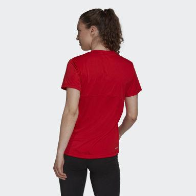 Camiseta Esportiva Primeblue Designed 2 Move Logo Vermelho Mulher Training
