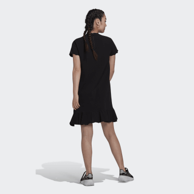 Ženy Originals černá Šaty Triple Trefoil Ruffle