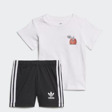 Infants Originals White adidas Originals x Kevin Lyons Shorts and Tee Set