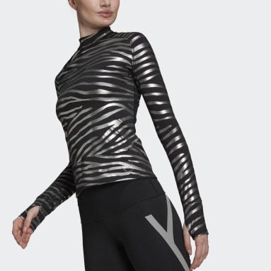 Women adidas by Stella McCartney Black adidas by Stella McCartney Training Long-Sleeve Top Metallic Print Long-Sleeve Top