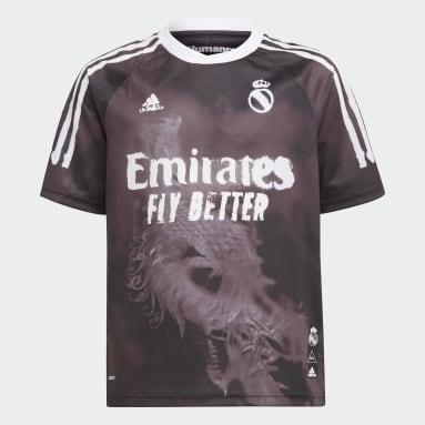 เด็กผู้ชาย ฟุตบอล สีดำ เสื้อฟุตบอล Real Madrid Human Race