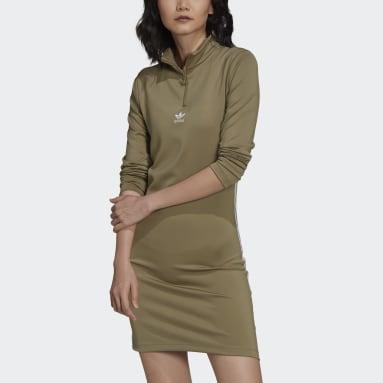 Ženy Originals zelená Šaty Adicolor Classics Long Sleeve