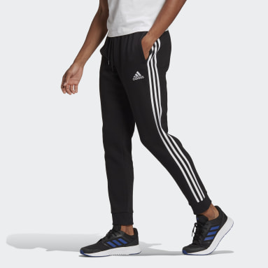 Men's Essentials Black Essentials French Terry Tapered-Cuff 3-Stripes Pants