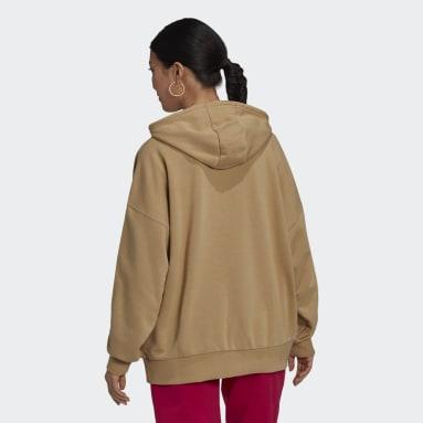 Kvinder Originals Beige Adicolor Shattered Trefoil Oversize hættetrøje