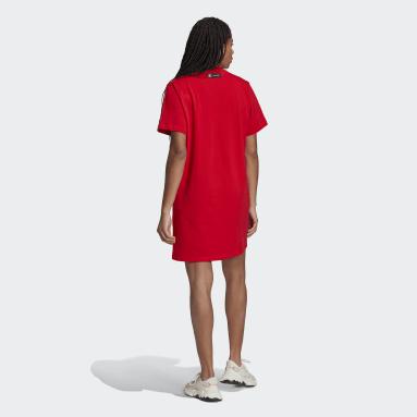 Robe t-shirt Marimekko Trefoil Print Infill Rouge Femmes Originals