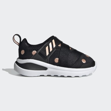 Infants Running Black FortaRun X Polka-Dot Shoes