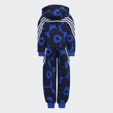 Completo Marimekko Primegreen Warm-Up Winter Fleece 3-Stripes Floral Hoodie and Pants Blu Ragazza Fitness & Training