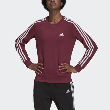 Dam Sportswear Burgundy Essentials 3-Stripes Fleece Sweatshirt