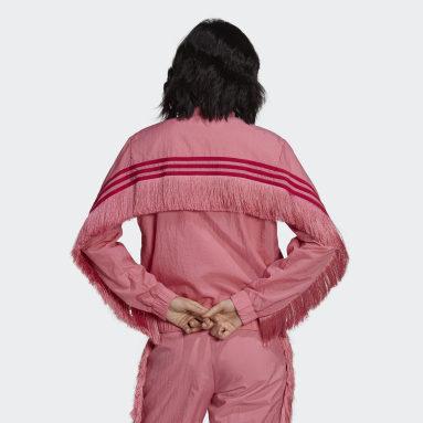 Women Originals Pink Half-Zip Windbreaker with Fringes and 3-Stripes