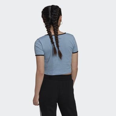Polo Corto Ajustado Azul Mujer Originals