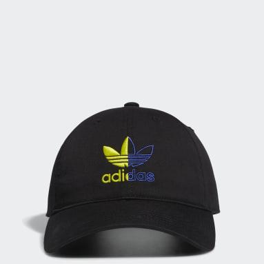 Men's Originals Black Relaxed Split Trefoil Strap-Back Hat