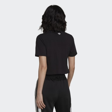 Women Originals Black Cropped Tee with Trefoil Graphic