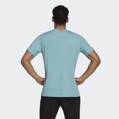 T-shirt Essentials Embroidered Linear Logo Verde Uomo Sportswear