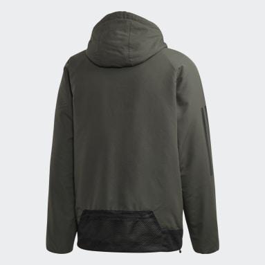 Männer City Outdoor Back-to-Sports 3-Streifen Hooded Insulated Jacke Grün
