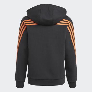 Boys Gym & Training Black 3-Stripes Doubleknit Full-Zip Hoodie
