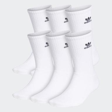 Men's Originals White Trefoil Crew Socks 6 Pairs