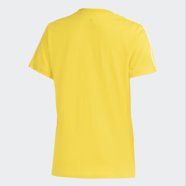 Polera Essentials 3 Tiras Ajustada Amarillo Mujer Diseño Deportivo