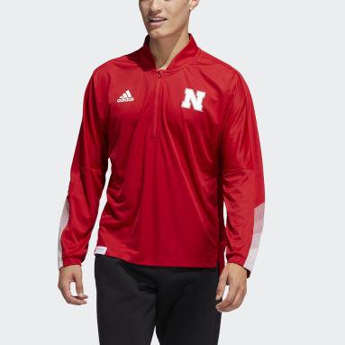 Men's Training Red Cornhuskers Quarter-Zip Knit Sweatshirt