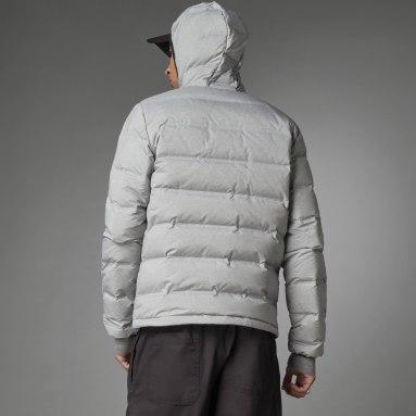 Men City Outdoor Grey Helionic Melange Hooded Down Jacket