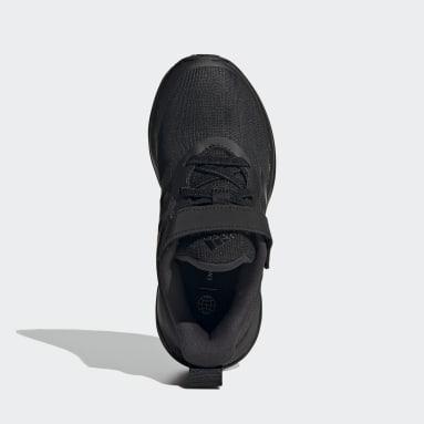 Kids Running Black FortaRun Elastic Lace Top Strap Running Shoes
