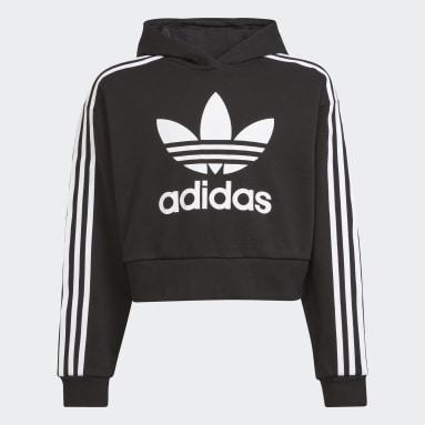Sweat-shirt à capuche Adicolor Cropped Noir Enfants Originals