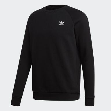 Men's Originals Black LOUNGEWEAR Trefoil Essentials Crewneck Sweatshirt
