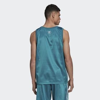 Men's Originals Turquoise Adicolor Trefoil 3-Stripes Satin Tank Top