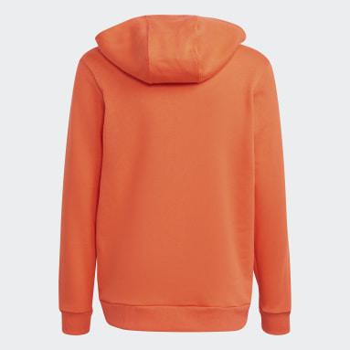 Boys Fitness Og Træning Orange Logo hættetrøje