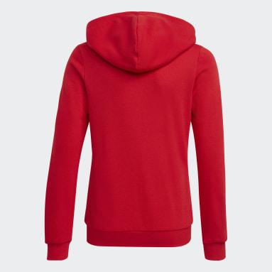 Blusa Moletom Zíper Capuz adidas Essentials Vermelho Meninas Training