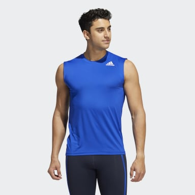 Men Gym & Training Blue Techfit Sleeveless Fitted Tank Top