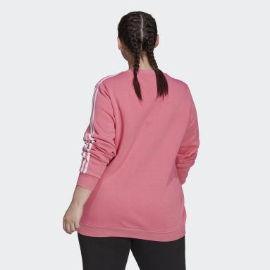 Felpa Essentials 3-Stripes Fleece (Taglie plus) Rosa Donna Sportswear